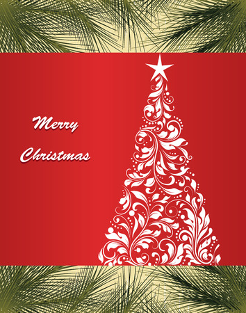 Vintage Christmas card with ornate elegant retro abstract floral design, tree with white flowers and leaves on red background with green pine needles and text label. Vector illustration.