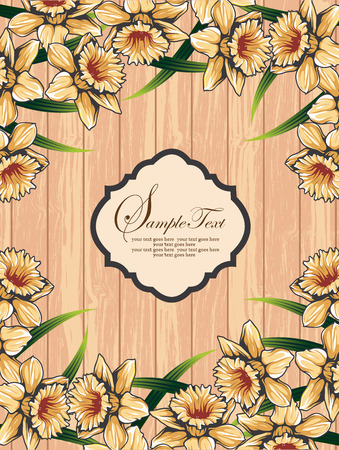 Vintage invitation card with ornate elegant retro abstract floral design, yellow orange flowers and green leaves on wood textured background with plaque text label. Vector illustration. Ilustração
