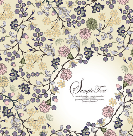 pale yellow: Vintage invitation card with ornate elegant retro abstract floral design, multi-colored flowers and leaves on pale yellow background with text label. Vector illustration.