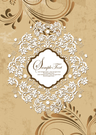 Vintage invitation card with ornate elegant retro abstract floral design, white and brown flowers and leaves on scratch textured light brown background with plaque text label. Vector illustration.