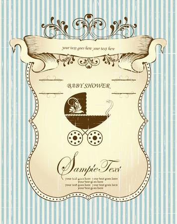 화려한 우아한 복고풍 추상 꽃 무늬 디자인 빈티지 베이비 샤워 초대장 카드는 처음에 갈색 잎은 띠 배너 유모차와 플라크 텍스트 레이블 밝은 파란색