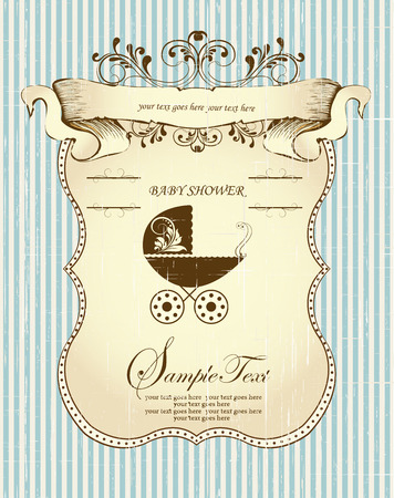 Vintage baby shower invitation card with ornate elegant retro abstract floral design, brown leaves on scratch textured striped light blue background with sash banner baby carriage and plaque text label. Vector illustration.