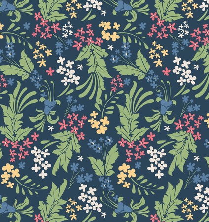 Vintage background with ornate elegant retro abstract floral design, multi-colored flowers and leaves on dark teal blue background. Vector illustration.