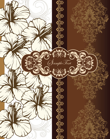 Vintage invitation card with ornate elegant retro abstract floral design, beige and light brown flowers and leaves on white and brown background with ribbon and cloud text label. Vector illustration.