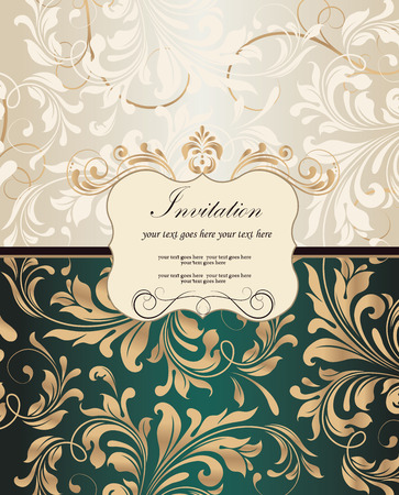 Vintage invitation card with ornate elegant retro abstract floral design, gold and beige flowers and leaves on light gray and dark emerald green background with plaque text label. Vector illustration.