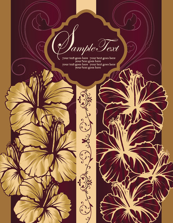 gold plaque: Vintage invitation card with ornate elegant retro abstract floral design, gold and maroon flowers and leaves on gold and maroon background with stripes and plaque text label. Vector illustration.