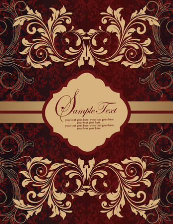 gold plaque: Vintage invitation card with ornate elegant retro abstract floral design, gold and red flowers and leaves on dark red background with striped ribbon and plaque text label. Vector illustration.