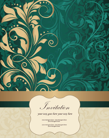 dark beige: Vintage invitation card with ornate elegant retro abstract floral design, shiny gold and dark cyan flowers and leaves on dark green and beige background with ribbon and plaque text label. Vector illustration.