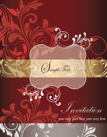 gold textured background: Vintage invitation card with ornate elegant retro abstract floral design, red gold and white flowers and leaves on dark red dark gold and gray background with plaque text label. Vector illustration. Illustration