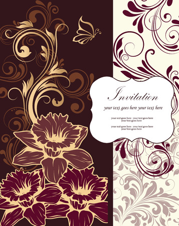 gold plaque: Vintage invitation card with ornate elegant retro abstract floral design, gold light brown grayish brown and purple flowers and leaves on chocolate brown and beige background with plaque text label. Vector illustration.