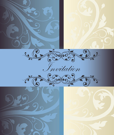 cadet blue: Vintage invitation card with ornate elegant retro abstract floral design, cadet blue and beige flowers and leaves on dark cadet blue and light gray background with divider and ribbon text label. Vector illustration. Illustration
