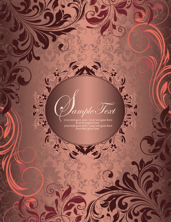 royal background: Vintage invitation card with ornate elegant retro abstract floral design, coral pink and dark red flowers and leaves on faded grayish red background with plaque text label. Vector illustration.