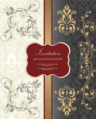 gold plaque: Vintage invitation card with ornate elegant retro abstract floral design, gray and gold flowers and leaves on pale green white gray and dark gray background with dark red striped ribbon and plaque text label. Vector illustration.