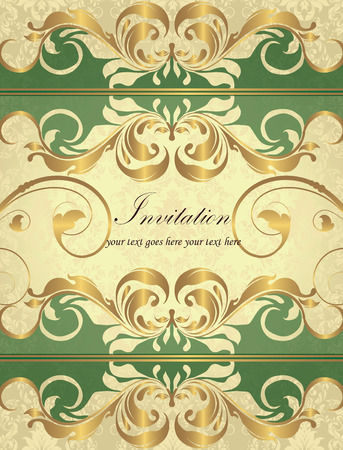 birthday party invitation: Vintage invitation card with ornate elegant retro abstract floral design, gold flowers and leaves on laurel green and light yellow background with divider strips and text label. Vector illustration.