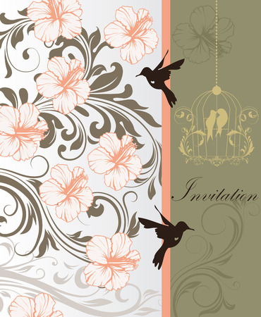 gray strip: Vintage invitation card with ornate elegant retro abstract floral design, peach light gray and gray flowers and leaves on light gray and gray background with divider strip birds and text label. Vector illustration.