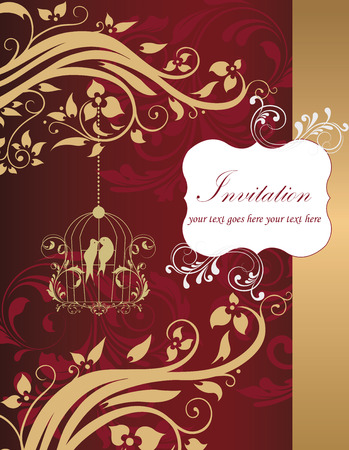 gold plaque: Vintage invitation card with ornate elegant retro abstract floral design, gold red and white flowers and leaves on dark red and gold background with birds right border and plaque text label. Vector illustration. Illustration