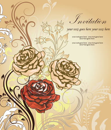 Vintage invitation card with ornate elegant retro abstract floral design, peach red white and brown flowers and leaves on faded light brown background with text label. Vector illustration.