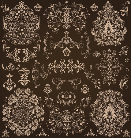 brownish: Vintage background with ornate elegant retro abstract floral design, light brownish gray flowers and leaves on dark chocolate brown background. Vector illustration.