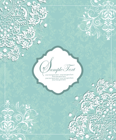 Vintage invitation card with ornate elegant retro abstract floral design, white flowers and leaves on aquamarine green background with plaque text label. Vector illustration.