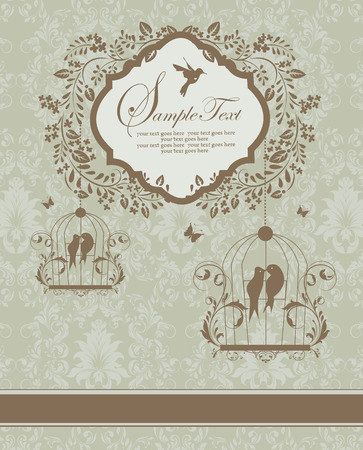 brownish: Vintage invitation card with ornate elegant retro abstract floral design, brownish gray flowers and leaves on greenish gray background with ribbon birds and plaque text label. Vector illustration.