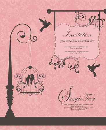 Vintage invitation card with ornate elegant retro abstract floral design, dark gray flowers and leaves on pink background with birds and signboard plaque text label. Vector illustration.