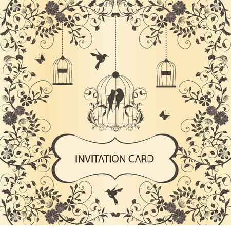 Vintage invitation card with ornate elegant retro abstract floral design, dark gray flowers and leaves on beige background with butterflies birds and plaque text label. Vector illustration.