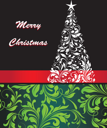 Vintage Christmas card with ornate elegant retro abstract floral design, tree with white star flowers and leaves on black yellow green and blue green background with red ribbon and text label. Vector illustration.