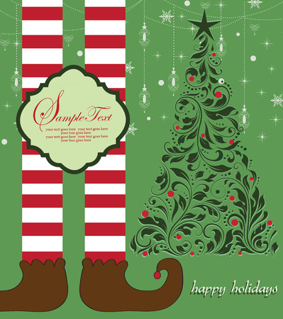 legs stockings: Vintage Christmas card with ornate elegant retro abstract floral design, elf legs with brown shoes and red and white striped stockings beside tree with red balls and dark green flowers and leaves on laurel green background with stars snowflakes snow lante