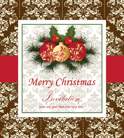 pine needles: Vintage Christmas card with ornate elegant retro abstract floral design, ball ornaments with red and gold flowers and leaves on light gray and white background with cherries ponsettia pine needles frame border and text label on light gray and chocolate br Illustration