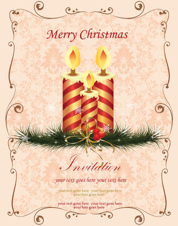 pine needles: Vintage Christmas card with ornate elegant retro abstract floral design, red and gold striped candles on light orange pink flowers and leaves on beige background with cherries ribbon pine needles frame border and text label. Vector illustration.