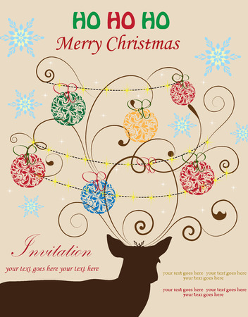 Vintage Christmas card with ornate elegant retro abstract floral design, ball ornaments with red green orange blue flowers and leaves on brown reindeer on brownish gray background with snowflakes and text label. Vector illustration. Stock Illustratie