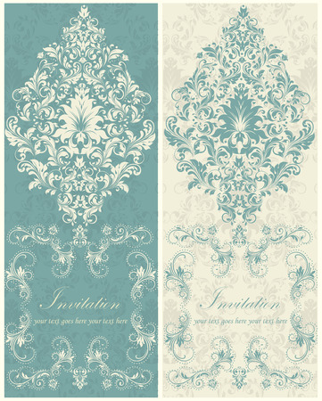 dark beige: Set of two (2) vintage invitation cards with ornate elegant retro abstract floral design, beige flowers and leaves on dark teal background and teal flowers and leaves on light gray and beige background with plaque text label. Vector illustration.