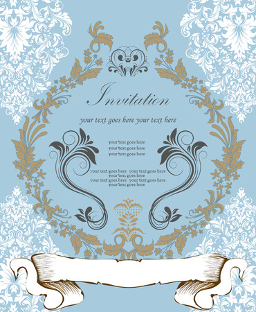 sash: Vintage invitation card with ornate elegant retro abstract floral design, white light brown and dark gray flowers and leaves on light blue background with sash banner and text label. Vector illustration.