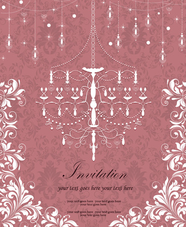 reddish: Vintage invitation card with ornate elegant retro abstract floral design, white flowers and leaves on reddish brown background with chandelier stars snow snowflakes lanterns and text label. Vector illustration.