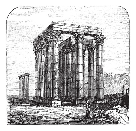 olympian: The Temple of Olympian Zeus, Olympieion or Columns of the Olympian Zeus, Greek, Athens. Vintage engraving. Old engraved illustration of The Temple of Olympian Zeus. A colossal ruined temple in the centre of the capital of Athens, Greece.