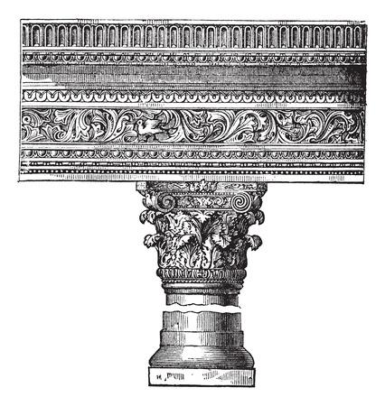 columnas romanas: Pilar en la Iglesia de San Juan de Constantinopla, ahora llamada Estambul, Turquía, el grabado de época. Ilustración del Antiguo grabado de un pilar en la Iglesia de San Juan de Constantinopla.