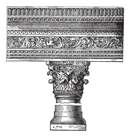roman: Pillar in the Church of Saint John in Constantinople, now called Istanbul, Turkey, vintage engraving. Old engraved illustration of a pillar in the Church of Saint John in Constantinople.