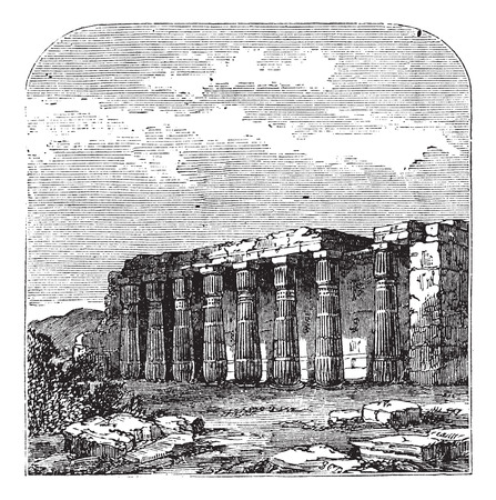 thebes: Temple of Luxor (or Quorenth) ruins, in Thebes, Egypt. Vintage engraving. Old engraved illustration of the columns at Luxor temple.