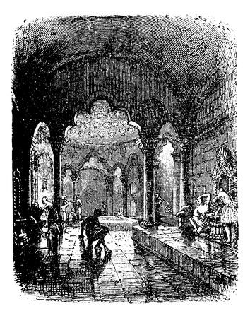 era: Turkish Bath, during the 1890s, vintage engraving. Old engraved illustration of a Turkish Bath.