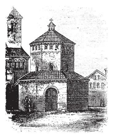 1890 년대 동안 몬 트, 이탈리아 노바라의 세례 장,,, 빈티지 조각. 오래 노바라의 세례의 그림을 새겨 져있다. 일러스트