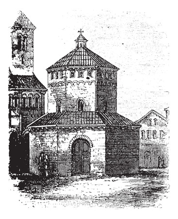 Baptistry of Novara, in Piedmont, Italy, during the 1890s, vintage engraving. Old engraved illustration of the Baptistry of Novara.