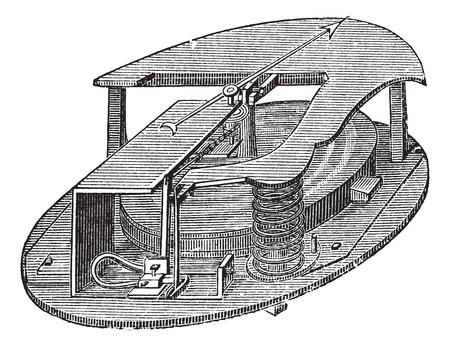 barometer: Aneroid Barometer, vintage engraving. Old engraved illustration of an Aneroid Barometer.