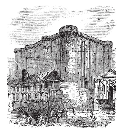 The Bastille or Bastille Saint-Antoine in Paris, France. Vintage engraving. Old engraved illustration of the French fortress-prison in 1890. Vettoriali
