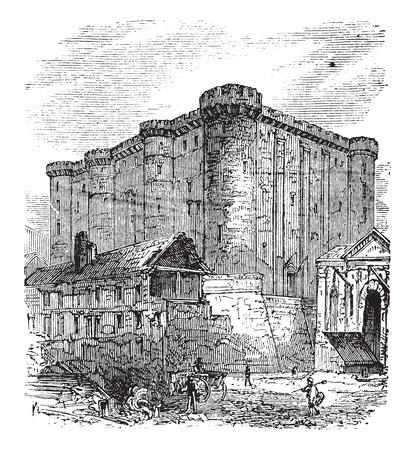 The Bastille or Bastille Saint-Antoine in Paris, France. Vintage engraving. Old engraved illustration of the French fortress-prison in 1890. Vectores