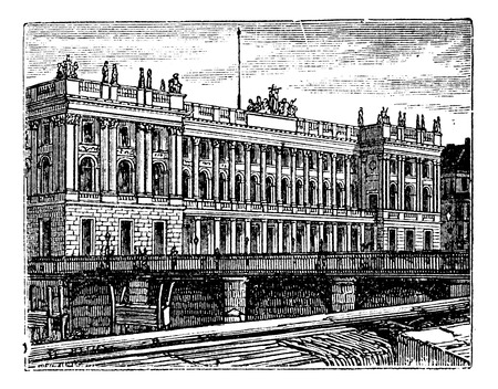 bourse: Berlin Stock Exchange, in Berlin, Germany, during the 1890s, vintage engraving. Old engraved illustration of Berlin Stock Exchange. Illustration