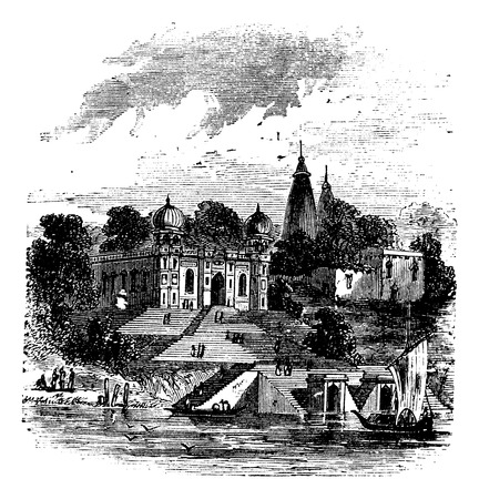 Bithoor, Ghat, Ganges, Kanpur, Uttar Pradesh, India. Old vintage engraving from the, 1890s.