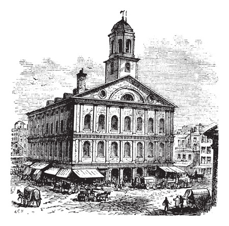 market place: Faneuil Hall or The Cradle of Liberty, Boston, Massachusetts, USA vintage engraving.  Old engraved illustration of building exterior