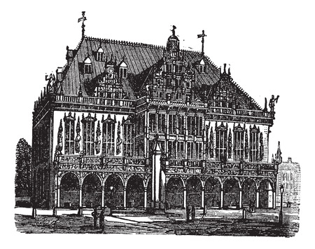 social history: Council house also known as council estate, Bremen, Germany, old engraved illustration of Council house, Bremen, Germany, 1890s.
