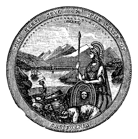 great seal: Grande Sigillo dello Stato della California, incisione vintage. Vintage illustrazione inciso del Seal of California, isolato su uno sfondo bianco. Stati Uniti. Trousset Encyclopedia. Vettoriali