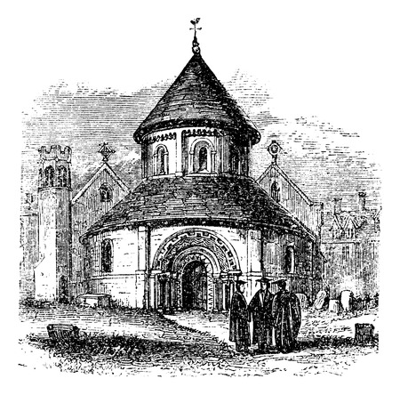scholars: Church of the Holy Sepulchre, Cambridge, United Kingdom, vintage engraving. Old engraved illustration of the Church of the Holy Sepulchre with thre scholars standing in front of it, 1890sé